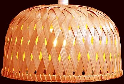 Bamboo fabric and paper lampshades and lighting uk 04384 dome lampshade mozeypictures Images
