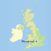 Location map of Woodstock in whole of UK   